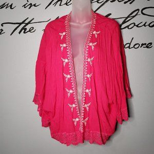 CELESTA Hot Pink Embroidered Short Kimono, Lg